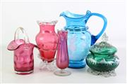 Sale 8931B - Lot 616 - Mary Gregory Blue Glass Jug and Green Lidded Container H: 23.5cm  16.5cm ( Chipped), Together With Ruby Glass Basket And Vases