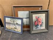 Sale 9008 - Lot 2048 - 3 Works: M Edwards Island Scene, watercolour, frame: 31 x 41 cm, signed lower right: together with a Still Life by an Unknown Artist