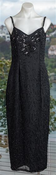 Sale 9044H - Lot 65 - A Dorgi beaded and sequined spaghetti strap evening gown in black silk, size M