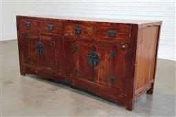 Sale 9188 - Lot 1330 - Chines elm 4 door sideboard with 4 drawers (h:82 x w:175 x d:58cm)