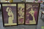 Sale 8251 - Lot 1057 - Set of Three Reproduction Coca~Cola Framed Posters