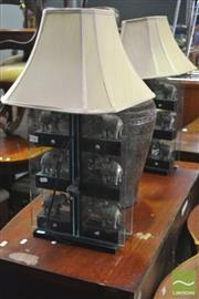 Sale 8326 - Lot 1338 - Pair Of Elephant Themed Table Lamps