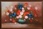 Sale 8403A - Lot 5020 - Robert Cox (1934 - 2001) - Still Life with Flowers in vase 59 x 90cm
