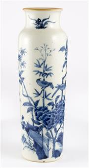 Sale 8536 - Lot 22 - A Ching style blue and white vase, decorated with floral and bird themes, H 28cm