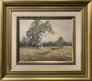 Sale 8668 - Lot 2010 - Fleur Priestly, - Pastoral Scene with Cattle and Farmer, oil on board, 37 x 42cm (frame size), s.l.r