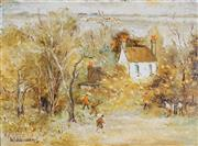 Sale 8867 - Lot 577 - Wilmotte Williams (1916 - 1992) - Country Cricket Match 44.5 x 60 cm