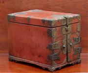 Sale 9055H - Lot 71 - A red lacquered brass hinged oriental jewellery casket with internal drawers and tray top. H:26cm W:23cm D:34cm
