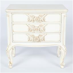 Sale 9140W - Lot 42 - A pair of custom built bedside tables in Louis XV Style, European hand carved wood with antique white rub finish, each with three dr...