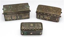 Sale 9173 - Lot 87 - A collection of three graduating brass betel nut boxes (L:13cm, 12cm and 11cm)