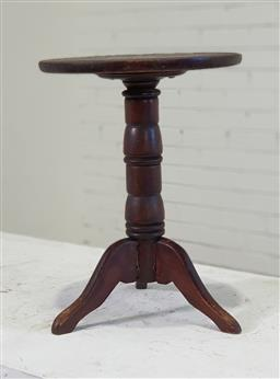 Sale 9174 - Lot 1292 - Small timber wine table (h:43 x d:31cm)