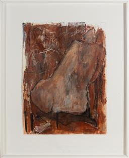 Sale 9191H - Lot 90 - GWYN TOSI Seated Nude mixed media on paper frame size 108 x 88 cm signed lower right