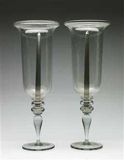 Sale 9209 - Lot 24 - A pair of large glass hurricane candle holders (H:49cm)