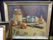 Sale 8407T - Lot 2056 - S. Neliubsys - Still Life - Onions, 1956, oil on board, 46.5 x 57cm, signed and dated lower left