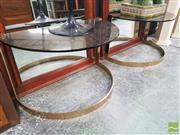 Sale 8455 - Lot 1009 - Pair of Smokey Glass Half Moon Side Tables