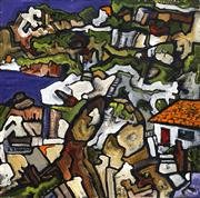 Sale 8693A - Lot 5040 - A D (Tony) North - House with a View 40 x 40cm