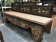 Sale 8942 - Lot 1046 - Chinese Red, Black and Gilt Daybed with Cushion Top (H: 99, W: 210, D: 50cm)