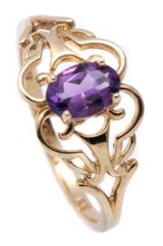 Sale 8982 - Lot 336 - A SOLITAIRE AMETHYST RING; set in 9ct gold with an oval cut amethyst, size Q, wt. 1.95g.