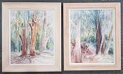 Sale 8973 - Lot 2050 - Cynthia Jackson (2 works)  Forest Scenes, watercolour, 64 x 54, each (frame), signed lower right
