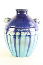 Sale 8980S - Lot 619 - Contemporary Chinese Glazed Vase With Fo Dog Handles H: 25cm