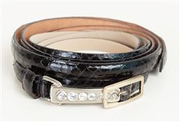 Sale 9120K - Lot 68 - A Hugo Boss extra thin waist belt together with another patent leather black thin belt; with diamante buckle.