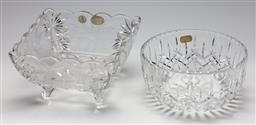 Sale 9254 - Lot 2280 - A Doulton International Crystal centre bowl (Dia:20cm) together with an etched and footed Bohemia crystal example (20cm x 20cm)