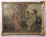 Sale 8375A - Lot 117 - A Giovanni print, Children and Angel, in gilt frame, 38 x 49cm