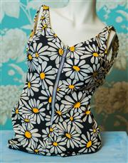 Sale 8420A - Lot 81 - A retro 1970s Miss Jantz flower bathing suit, size: 36 ,condition: good, some age spots and staining to left & right hand straps &...