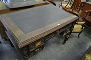 Sale 8460 - Lot 1100 - Late 19th Century Carved Oak Desk, with leather top & five drawers with lion mask handles