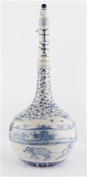 Sale 8536 - Lot 23 - A Chenghua style blue and white vase, painted with floral and rural subjects. Chenghua mark to the base, H 47cm