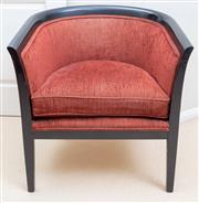 Sale 8562A - Lot 164 - A claret upholstered ebonised tub chair, W 68cm