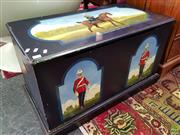 Sale 8562 - Lot 1031 - Painted Timber Lift Top Trunk Depicting Officers