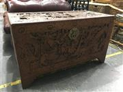 Sale 8795 - Lot 1079 - Carved Camphorwood Oriental Lift Top Trunk
