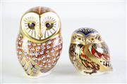 Sale 8935 - Lot 30 - Royal Crown Derby Figure of an Owl (H12cm) together with a smaller example (H8.5cm)