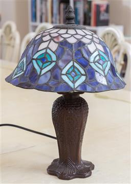 Sale 9165H - Lot 142 - A small bedside lamp with Tiffany style shade, total Height 33cm