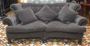 Sale 8222 - Lot 44 - A plush grey velvet upholstered three seater lounge, with curved form buttoned back, H 95, W 230, D 125cm