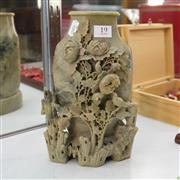 Sale 8306 - Lot 19 - Soap Stone Vase with Heavily Carved Birds and Floral Motif