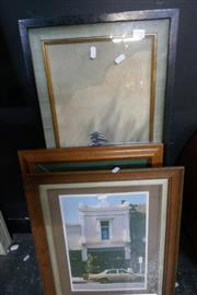 Sale 8362 - Lot 2097 - A collection of  art works, incl. Oriental landscape with tree and a print of a car etc