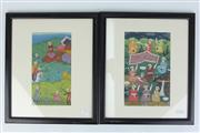 Sale 8396C - Lot 16 - Indo Persian Framed Book Plates; Gouache on Paper; H21cm x W12cm