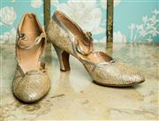 Sale 8420A - Lot 13 - A pair of 1950s vintage Harrods of London leather & lace shoes with diamante button straps, size: 5, condition: good to fair