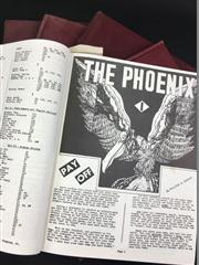 Sale 8539M - Lot 221 - The Phoenix Magazine, issues 1-250, 5 vols, nicely bound in red, with inscription by Keith Abson.