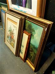 Sale 8659 - Lot 2077 - Quantity of 4 Assorted Decorative Prints, including hand coloured engravings, framed and various sizes