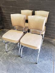 Sale 8962 - Lot 1049 - Set of 4 Metal Framed Retro Chairs (H:83 W:38cm)