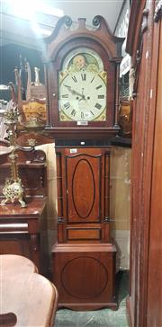 Sale 9068 - Lot 1022 - Early Victorian Scottish Oak Longcase Clock, the two train movement signed William Clucas, Douglas, the painted dial with date apert...