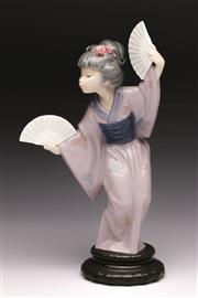 Sale 9078 - Lot 8 - Lladro Of A Japanese Lady With Fans H: 30cm