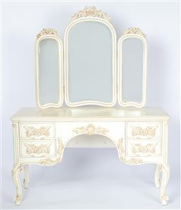 Sale 9140W - Lot 44 - A custom built mirrored back dressing table in Louis XV style, European hand carved wood with antique white rub finish. Total Heig...