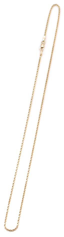 Sale 9149 - Lot 408 - A 14CT GOLD CHAIN; 1.5mm wide rope twist links to parrot clasp, length 45cm, wt. 3.97g.