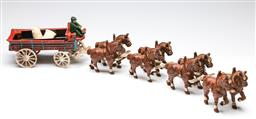 Sale 9255S - Lot 35 - A cast iron handpainted horse and carriage set