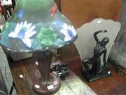 Sale 7933A - Lot 1135 - Dancing Figural Lamp With Stain Glass Lamp