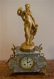 Sale 7984 - Lot 7 - French Ormolu and alabaster mantel clock and stand by Japy Freres, with bell strike.