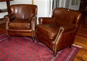Sale 8088A - Lot 20 - Pair of leather single seater armchairs